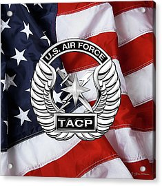 Acrylic Print featuring the digital art U. S.  Air Force Tactical Air Control Party -  T A C P  Badge Over American Flag by Serge Averbukh