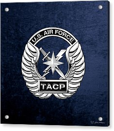 Acrylic Print featuring the digital art U. S.  Air Force Tactical Air Control Party -  T A C P  Badge Over Blue Velvet by Serge Averbukh