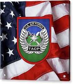 Acrylic Print featuring the digital art U. S.  Air Force Tactical Air Control Party -  T A C P  Beret Flash With Crest Over American Flag by Serge Averbukh