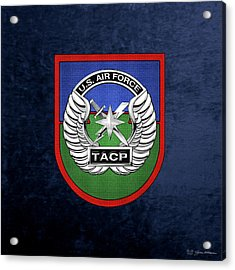 Acrylic Print featuring the digital art U. S.  Air Force Tactical Air Control Party -  T A C P  Beret Flash With Crest Over Blue Velvet by Serge Averbukh