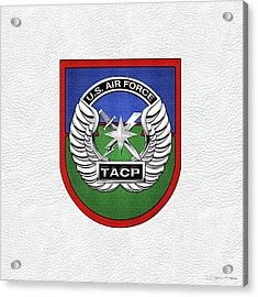 Acrylic Print featuring the digital art U. S.  Air Force Tactical Air Control Party -  T A C P  Beret Flash With Crest Over White Leather by Serge Averbukh