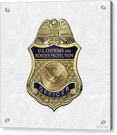 U. S.  Customs And Border Protection -  C B P  Officer Badge Over White Leather Acrylic Print