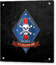 U S M C  1st Reconnaissance Battalion -  1st Recon Bn Insignia Over Black Velvet Acrylic Print