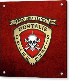 U S M C  3rd Reconnaissance Battalion -  3rd Recon Bn Insignia Over Red Velvet Acrylic Print