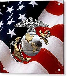U S M C Eagle Globe And Anchor - C O And Warrant Officer E G A Over U. S. Flag Acrylic Print