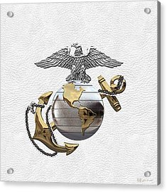 U S M C Eagle Globe And Anchor - C O And Warrant Officer E G A Over White Leather Acrylic Print