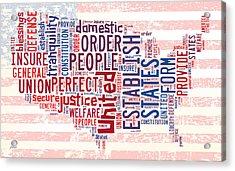 U S Map Preamble Word Cloud4 Acrylic Print