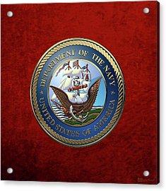 U. S.  Navy  -  U S N Emblem Over Red Velvet Acrylic Print