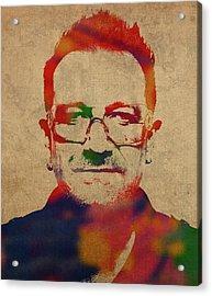 U2 Bono Watercolor Portrait Acrylic Print