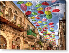 Umbrellas Over Jerusalem Acrylic Print