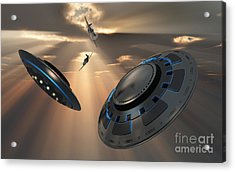 Ufos And Fighter Planes In The Skies Acrylic Print by Mark Stevenson