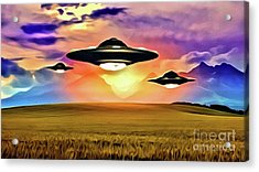 Ufos At Harvest Time Acrylic Print