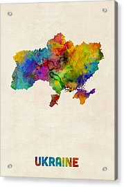 Ukraine Watercolor Map Acrylic Print by Michael Tompsett