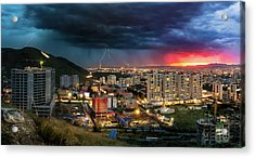 Acrylic Print featuring the photograph Ulaanbaatar Sunset Thunderstorm by Geoffrey Lewis