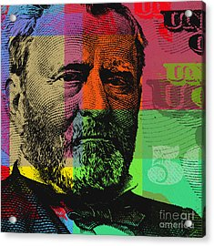 Acrylic Print featuring the digital art Ulysses S. Grant - $50 Bill by Jean luc Comperat