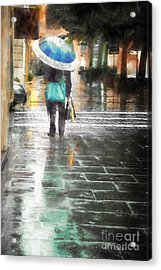 Umbrella Seller Acrylic Print by HD Connelly