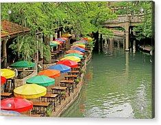 Acrylic Print featuring the photograph Umbrellas Along River Walk - San Antonio by Art Block Collections