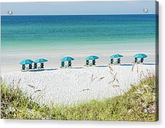 Umbrellas Await On The Beach Acrylic Print