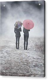 Umbrellas In The Mist Acrylic Print by Joana Kruse