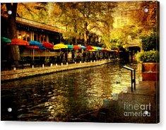 Umbrellas In The Riverwalk Acrylic Print by Iris Greenwell