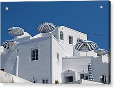 Umbrellas - Santorini, Greece Acrylic Print
