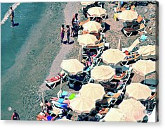 Acrylic Print featuring the photograph Umbrellas On The Beach - Nerja by Mary Machare