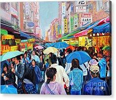 Umbrellas Up In Taiwan Acrylic Print by Karen Cade