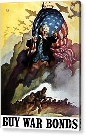 Uncle Sam - Buy War Bonds Acrylic Print by War Is Hell Store