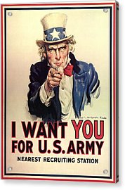 Uncle Sam Recruited Soldiers For World War Acrylic Print by MotionAge Designs