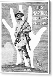 Uncle Sam's Right Hand - Us Marines Acrylic Print by War Is Hell Store