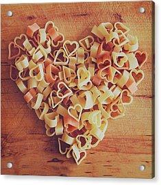 Uncooked Heart-shaped Pasta Acrylic Print by Julia Davila-Lampe