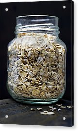 Uncooked Oatmeal Flakes Acrylic Print by Donald  Erickson