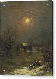 Under A Full Moon Acrylic Print by Jervis McEntee