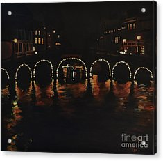 Under A Lighted Bridge In Amsterdam Acrylic Print