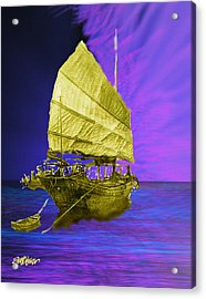 Acrylic Print featuring the digital art Under Golden Sails by Seth Weaver