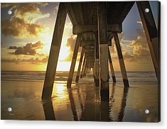 Under Johnny Mercer Pier At Sunrise Acrylic Print