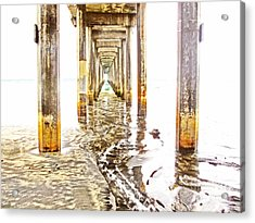 Under Scripps Pier Acrylic Print by Ruth Jolly