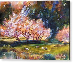 Under The Blossom Trees Sold Acrylic Print by Therese Fowler-Bailey