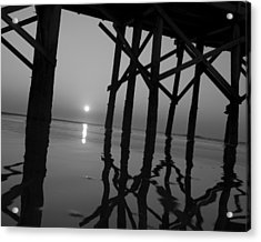 Under The Boardwalk Bw1 Acrylic Print by Tom Rickborn
