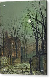 Under The Moon Acrylic Print by John Atkinson Grimshaw