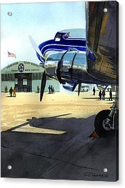 Acrylic Print featuring the painting Under The Plane's Wing by Sergey Zhiboedov