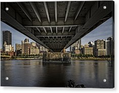 Under The Roberto Clemente Bridge Acrylic Print by Rick Berk