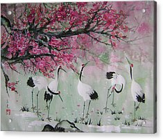 Under The Snow Plums 2 Acrylic Print by Lian Zhen