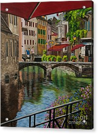 Under The Umbrella In Annecy Acrylic Print