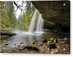 Under Upper Butte Creek Falls In Autumn Acrylic Print by David Gn