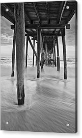 Underneath The Pier At The Jersey Shore  Bw Acrylic Print