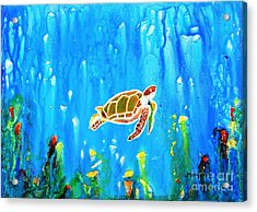 Underwater Magic 5-happy Turtle Acrylic Print
