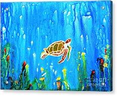 Underwater Magic 5-happy Turtle Acrylic Print