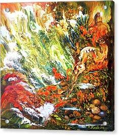 Underwater Odyssey In Abstract/simbolism Style  Acrylic Print by Natalya Zhdanova