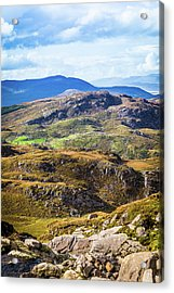 Undulating Green, Purple And Yellow Rocky Landscape In  Ireland Acrylic Print by Semmick Photo